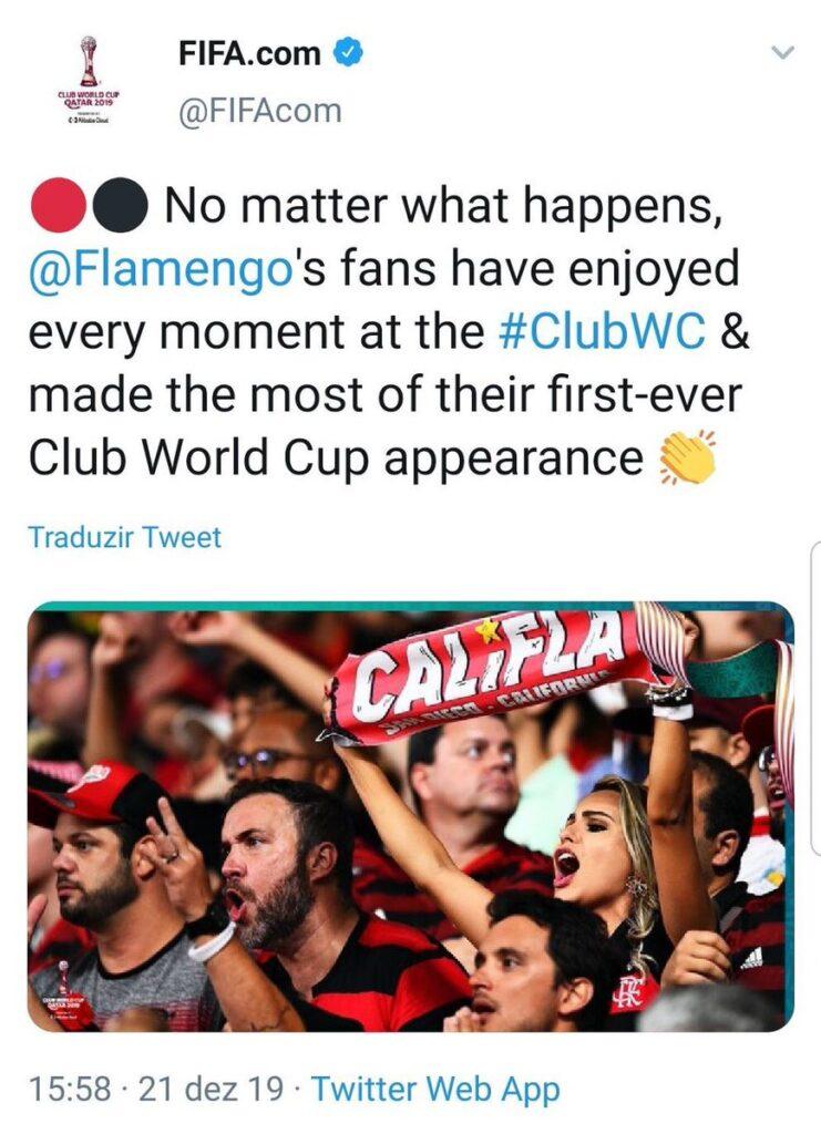 Fifa parabeniza flamengo pela estreia no Mundial