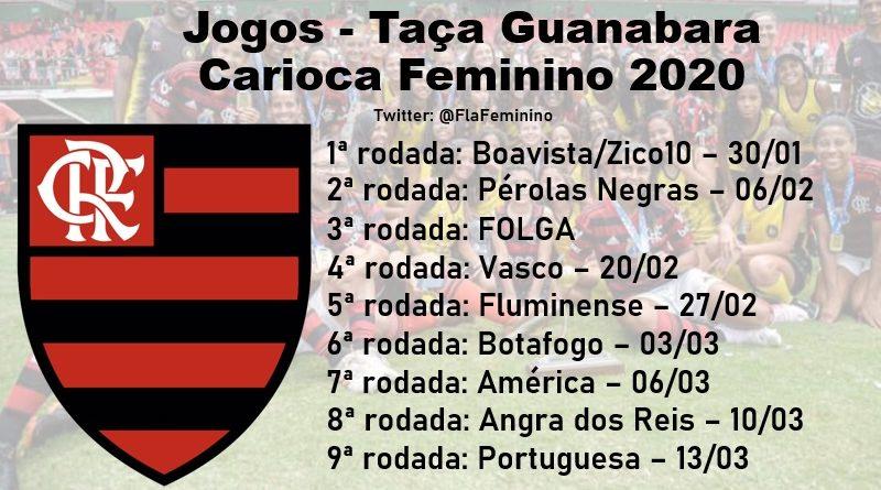 tabela jogos flamengo carioca feminino 2020