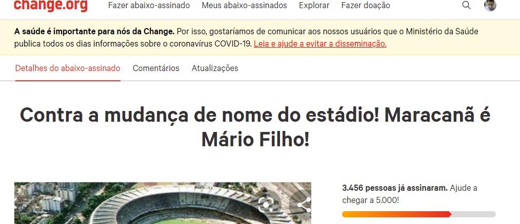 Abaixo assinado contra a mudança do nome do Maracanã